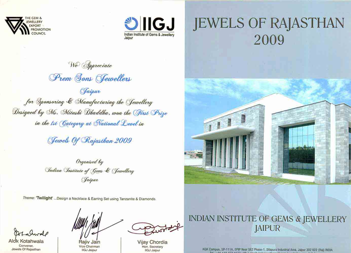 IIGJ appreciate premsons jewellers