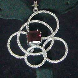 Pendant with Diamonds and Pink Tourmaline