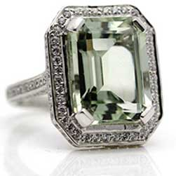 Emerald Cut Green Amethyst Ring